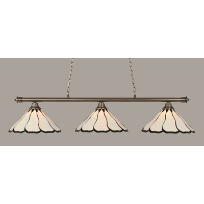 Oxford 3-Light Billiard Light Shade Color: Pearl, Finish: Brushed Nickel