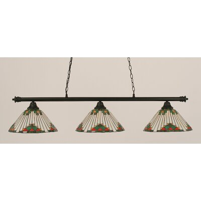 Passabe 3-Light Sunray Tiffany Shade Billiard Light Finish: Matte Black, Shade Color: Green