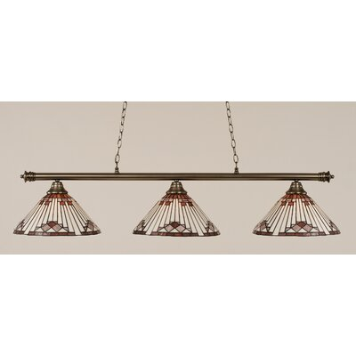 Passabe 3-Light Sunray Tiffany Shade Billiard Light Finish: Brushed Nickel, Shade Color: Purple