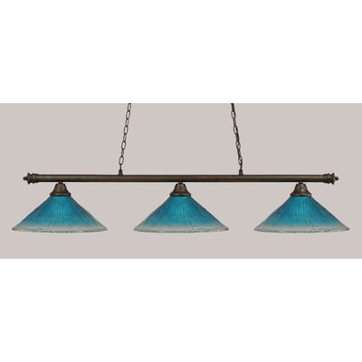 Oxford 3-Light Billiard Light Finish: Bronze, Shade Color: Teal
