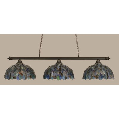 Passabe 3-Light Mosaic Tiffany Shade Billiard Light Finish: Dark Granite