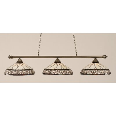 Passabe 3-Light Royal Merlot Tiffany Shade Billiard Light Finish: Brushed Nickel