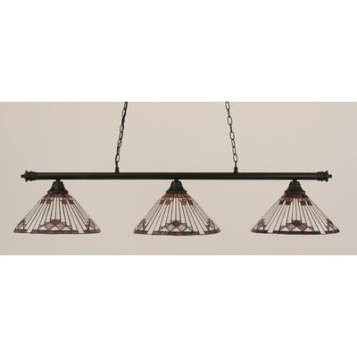 Passabe 3-Light Sunray Tiffany Shade Billiard Light Finish: Matte Black, Shade Color: Purple