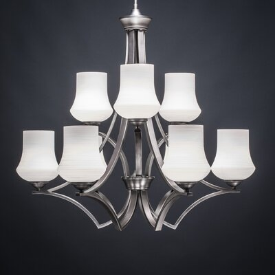 Zilo 9-Light Shaded Chandelier Shade Color: White
