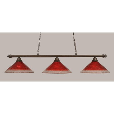 Oxford 3-Light Billiard Light Finish: Bronze, Shade Color: Raspberry
