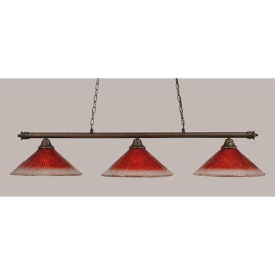 Oxford 3-Light Billiard Light Finish: Bronze, Shade Color: Raspberry