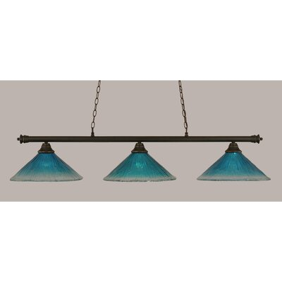 Oxford 3-Light Billiard Light Shade Color: Teal, Finish: Dark Granite