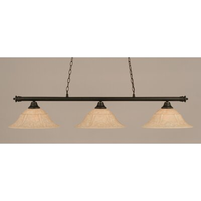Oxford 3-Light Billiard Light Size: 11.25 H x 55.75 W, Finish: Dark Granite