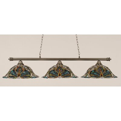 Passabe 3-Light Kaleidoscope Tiffany Shade Billiard Light Finish: Brushed Nickel