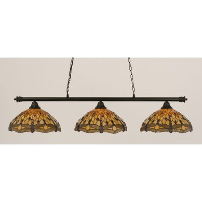 Passabe 3-Light Dragonfly Tiffany Shade Billiard Light Finish: Matte Black