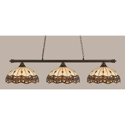 Passabe 3-Light Jewel Tiffany Shade Billiard Light Finish: Dark Granite