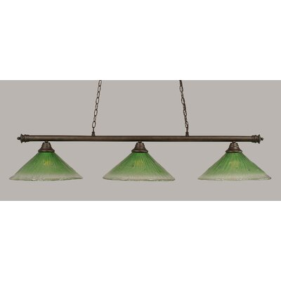 Oxford 3-Light Billiard Light Finish: Bronze, Shade Color: Kiwi Green