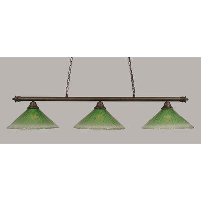 Oxford 3-Light Billiard Light Finish: Bronze, Shade Color: Kiwi Green