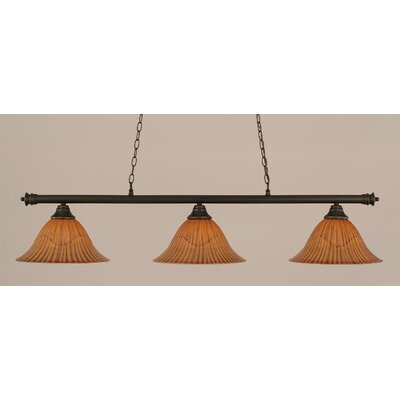 Oxford 3-Light Billiard Light Size: 12 H x 54 W, Finish: Dark Granite