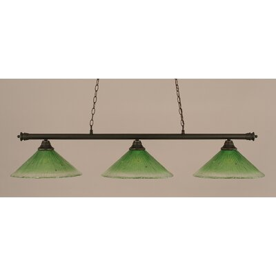 Oxford 3-Light Billiard Light Shade Color: Kiwi Green, Finish: Dark Granite