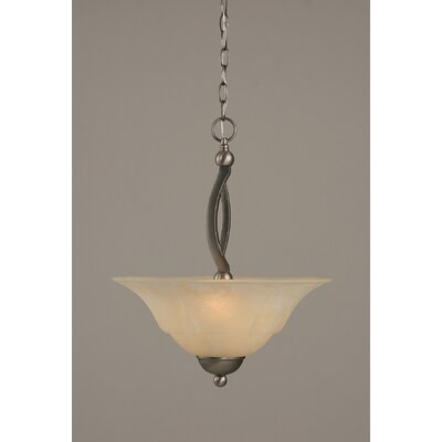 Bow 2-Light Inverted Pendant Shade Color: Amber, Finish: Brushed Nickel