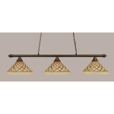 Passabe 3-Light Glass Shade Billiard Light Finish: Bronze