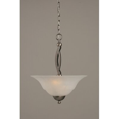 Blankenship 2-Light Steel Inverted Pendant Shade Color: White, Finish: Brushed Nickel