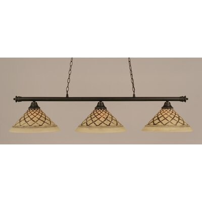 Passabe 3-Light Glass Shade Billiard Light Finish: Dark Granite