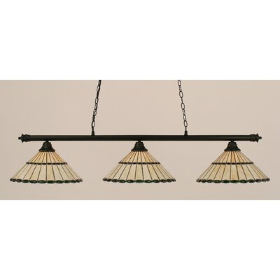 Oxford 3-Light Billiard Light Shade Color: Honey and Green, Finish: Matte Black