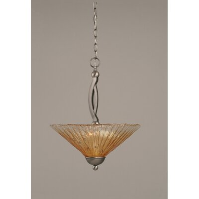 Bow 2-Light Inverted Pendant Finish: Brushed Nickel, Shade Color: Amber