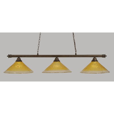 Oxford 3-Light Billiard Light Finish: Bronze, Shade Color: Gold Champagne