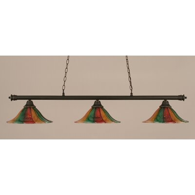 Oxford 3-Light Billiard Light Size: 10.25 H x 54 W, Finish: Dark Granite