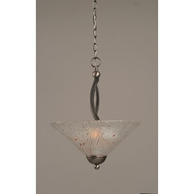 Bow 2-Light Uplight Inverted Pendant Finish: Brushed Nickel, Shade Color: Frosted Crystal