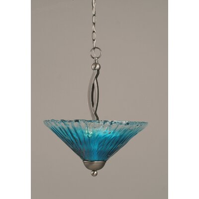 Bow 2-Light Inverted Pendant Finish: Brushed Nickel, Shade Color: Teal
