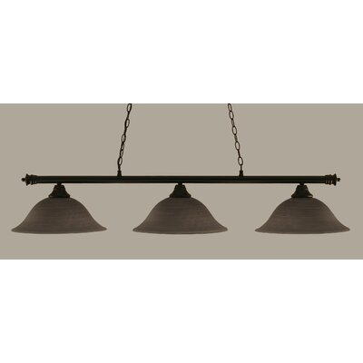 Passabe 3-Light Billiard Light Finish: Matte Black, Shade Color: Gray