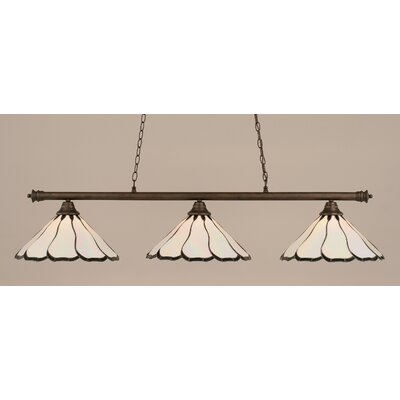 Oxford 3-Light Billiard Light Finish: Bronze, Shade Color: Pearl