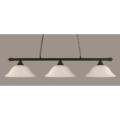 Passabe 3-Light Billiard Light Finish: Matte Black, Shade Color: White