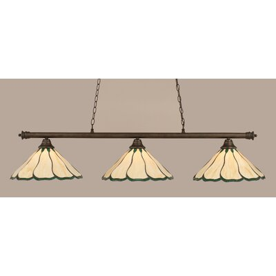 Oxford 3-Light Billiard Light Finish: Bronze, Shade Color: Honey and Hunter Green