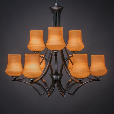 Zilo 9-Light Shaded Chandelier Shade Color: Cayenne, Finish: Matte Black