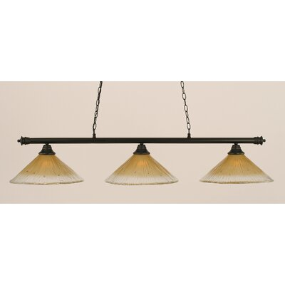 Oxford 3-Light Billiard Light Finish: Matte Black, Shade Color: Amber