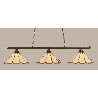 Oxford 3-Light Billiard Light Shade Color: Honey and Hunter Green, Finish: Dark Granite