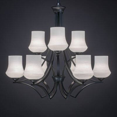 Zilo 9-Light Shaded Chandelier Shade Color: White, Finish: Matte Black