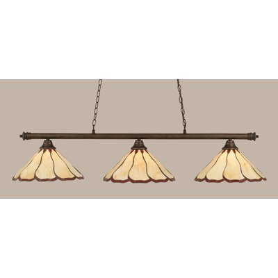 Oxford 3-Light Billiard Light Finish: Bronze, Shade Color: Honey and Burgundy