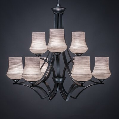 Zilo 9-Light Shaded Chandelier Shade Color: Gray, Finish: Matte Black
