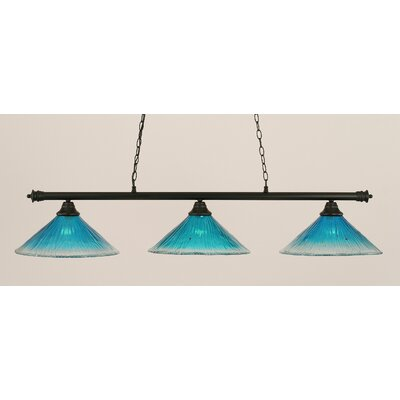 Oxford 3-Light Billiard Light Finish: Matte Black, Shade Color: Teal