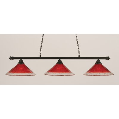 Oxford 3-Light Billiard Light Finish: Matte Black, Shade Color: Raspberry