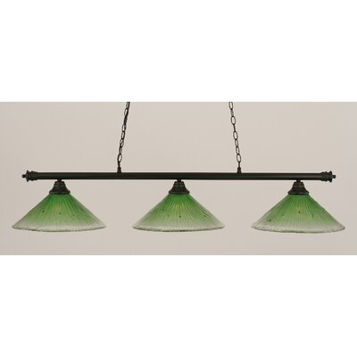 Oxford 3-Light Billiard Light Finish: Matte Black, Shade Color: Kiwi Green