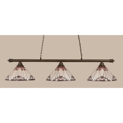 Passabe 3-Light Sunray Tiffany Shade Billiard Light Finish: Bronze, Shade Color: Purple