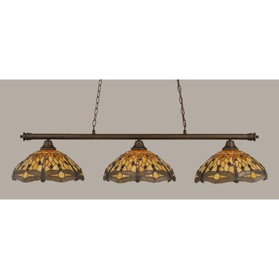 Passabe 3-Light Dragonfly Tiffany Shade Billiard Light Finish: Bronze