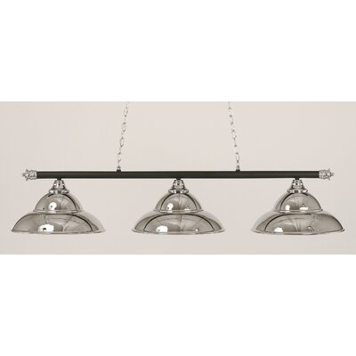 Passabe 3-Light Metal Billiard Light Finish: Matte Black and Chrome