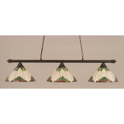 Oxford 3-Light Billiard Light Shade Color: Green, Finish: Dark Granite
