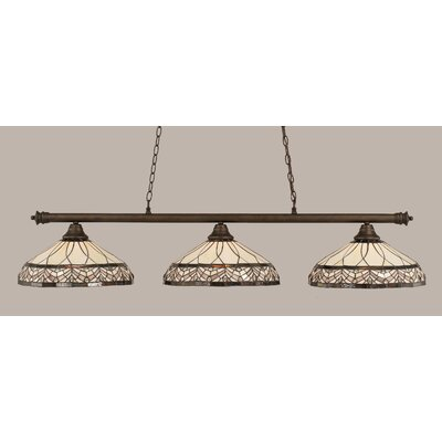 Passabe 3-Light Royal Merlot Tiffany Shade Billiard Light Finish: Bronze