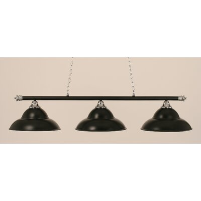 Passabe 3-Light Metal Billiard Light Finish: Chrome and Matte Black