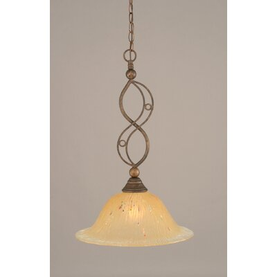 Jazz 1-Light Bowl Pendant Finish: Bronze, Shade Color: Amber Crystal Glass, Size: 12 W