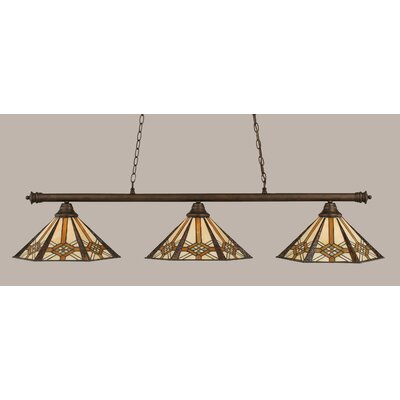 Passabe 3-Light Tiffany Shade Billiard Light Finish: Bronze